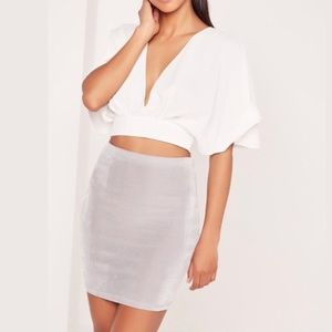 Missguided • Sliver Grey Sheer Mini Skirt